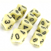 Ivory & Black Opaque D10 Ten Sided Dice Set